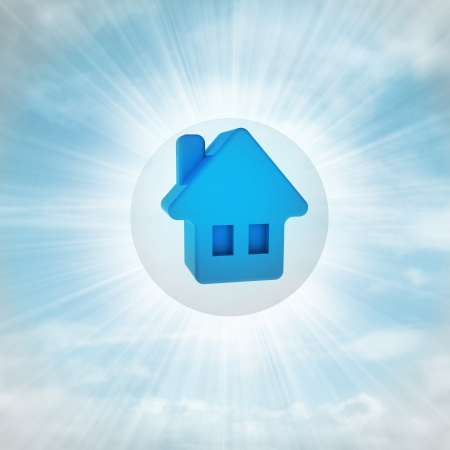blue house icon in glossy bubble in the air with flare illustration Stock Illustration - 22741714