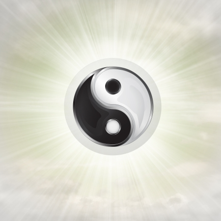 yin yang harmony in glossy bubble in the air with flare illustration illustration