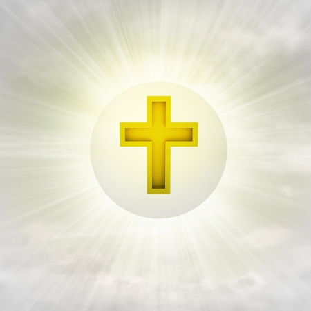 christian golden cross in glossy bubble in the air with flare illustration illustration