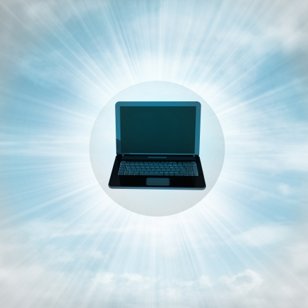 flying laptop in glossy bubble in the air with flare illustration illustration