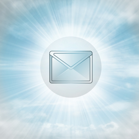email envelope in glossy bubble in the air with flare illustration illustration