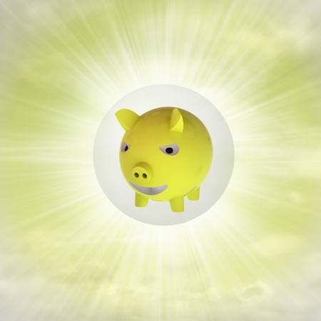golden pig in glossy bubble in the air with flare illustration illustration
