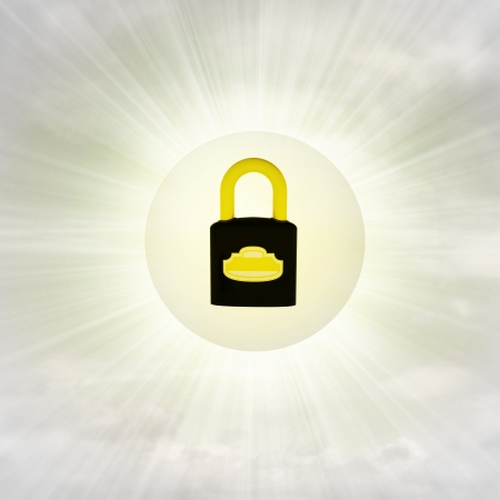 closed padlock in glossy bubble in the air with flare illustration illustration