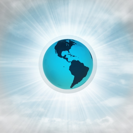 America earth globe in glossy bubble in the air with flare illustration illustration