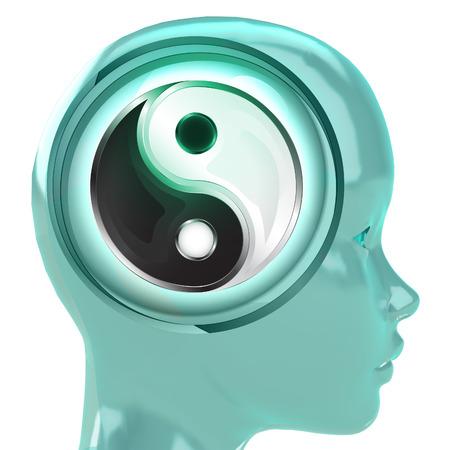 harmony idea: blue human head with brain cloud with yin yang harmony inside illustration Stock Photo