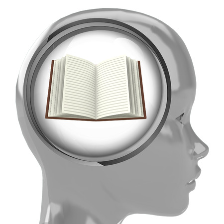 metallic human head with brain cloud with open book inside illustration Stock Illustration - 22741768