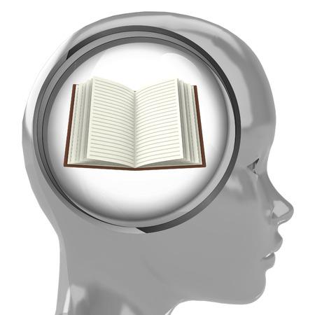 metallic human head with brain cloud with open book inside illustration Stock Illustration - 22741768