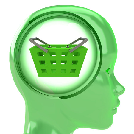 green human head with brain cloud with shopping basket inside illustration illustration