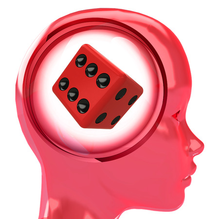 red human head with brain cloud with lucky dice inside illustration illustration