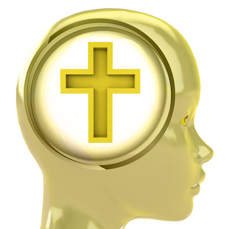 godness: yellow human head with brain cloud with golden cross inside illustration
