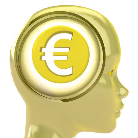 yellow human head with brain cloud with Euro coin inside illustration illustration