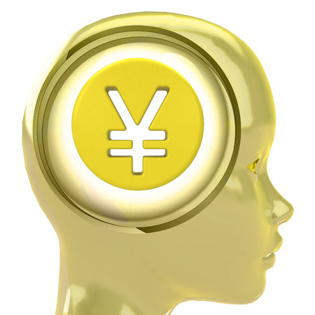 yellow human head with brain cloud with Yen coin inside illustration illustration