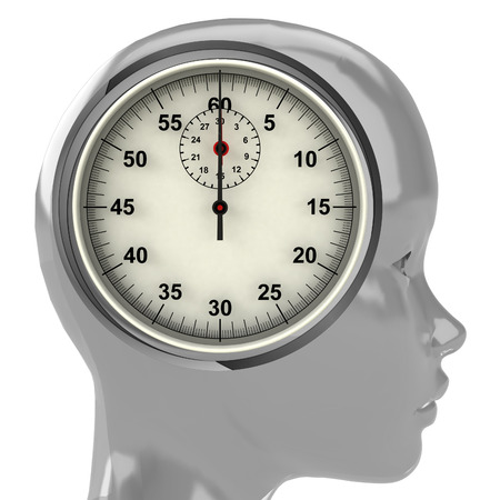 metallic human head with brain cloud with time clock inside illustration illustration