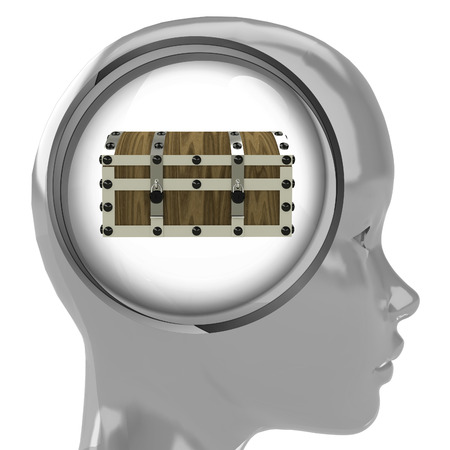 metallic human head with brain cloud with mystery chest inside illustration illustration