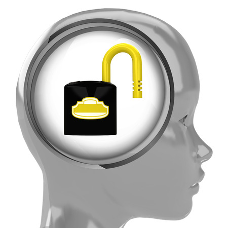 metallic human head with brain cloud with open padlock inside illustration illustration