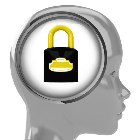 metallic human head with brain cloud with closed padlock inside illustration illustration