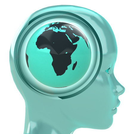blue human head with brain cloud with Africa globe inside illustration illustration