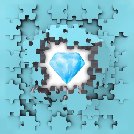 revelation: blue puzzle jigsaw with pure diamond revelation illustration