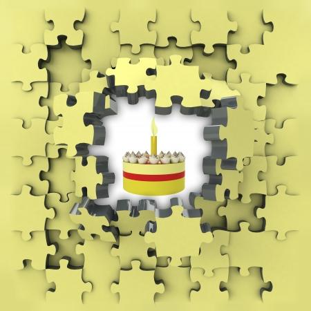 yellow puzzle jigsaw with fancy cake idea revelation illustration illustration