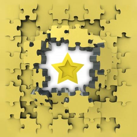 yellow puzzle jigsaw with top star idea revelation illustration illustration
