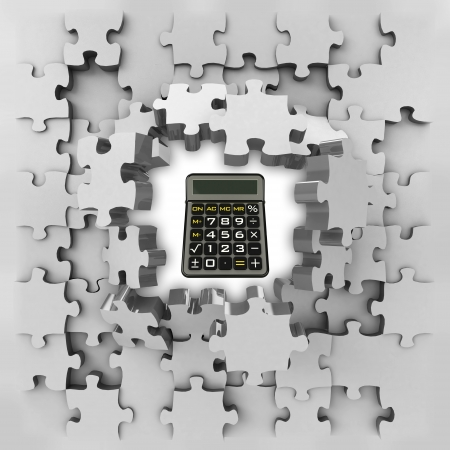 revelation: grey puzzle jigsaw with business calculator revelation illustration Stock Photo