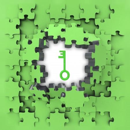 green puzzle jigsaw with metallic key revelation illustration illustration