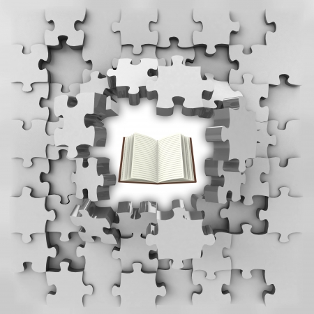 revelation: grey puzzle jigsaw with education book revelation illustration