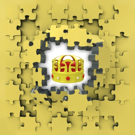 yellow puzzle jigsaw with royal crown idea revelation illustration illustration
