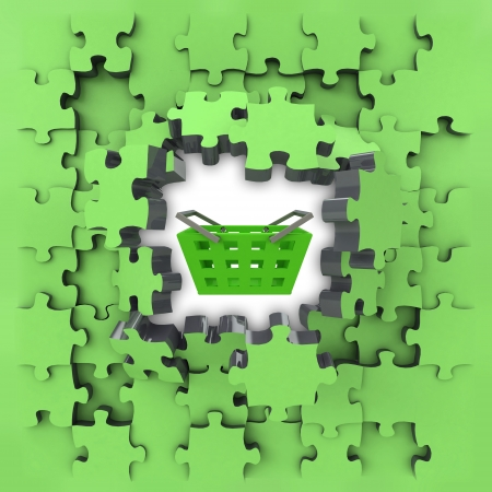 green puzzle jigsaw with shopping basket revelation illustration illustration