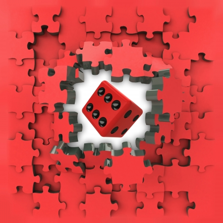 red puzzle jigsaw with lucky dice revelation illustration illustration
