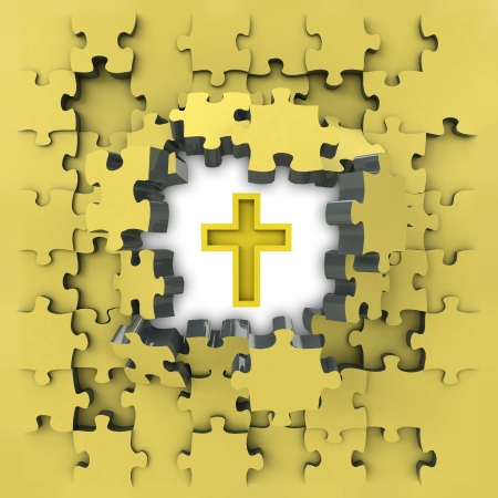 revelation: yellow puzzle jigsaw with golden cross idea revelation illustration Stock Photo