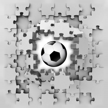 revelation: grey puzzle jigsaw with sport ball revelation illustration Stock Photo