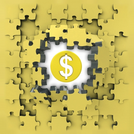 yellow puzzle jigsaw with Dollar coin idea revelation illustration Stock Photo