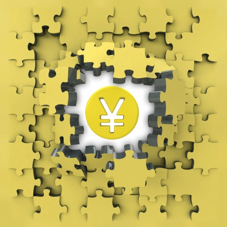 wealth management: yellow puzzle jigsaw with Yuan coin idea revelation illustration Stock Photo