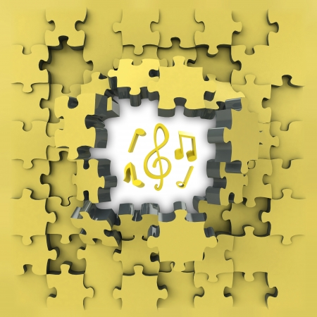 revelation: yellow puzzle jigsaw with cool music idea revelation illustration