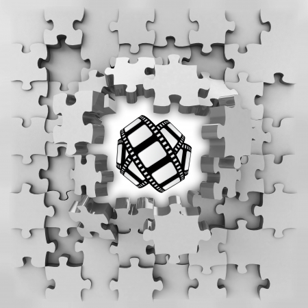 grey puzzle jigsaw with movie tape revelation illustration illustration
