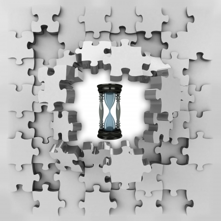 revelation: grey puzzle jigsaw with sand glass time revelation illustration Stock Photo