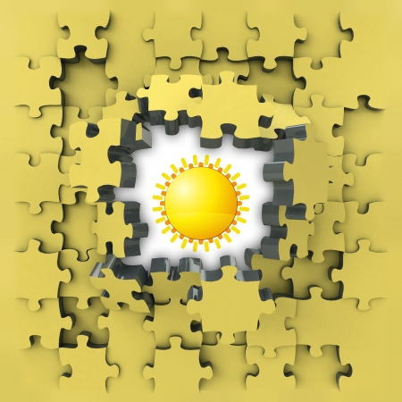 revelation: yellow puzzle jigsaw with shiny sun idea revelation illustration Stock Photo