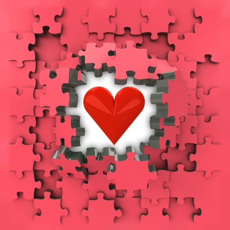 romance strategies: red puzzle jigsaw with heart love revelation illustration
