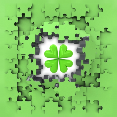 revelation: green puzzle jigsaw with cloverleaf lucky revelation illustration
