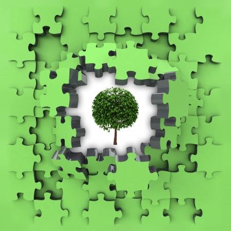 green puzzle jigsaw with leafy tree revelation illustration illustration