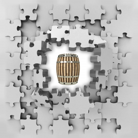 revelation: grey puzzle jigsaw with beverage keg revelation illustration