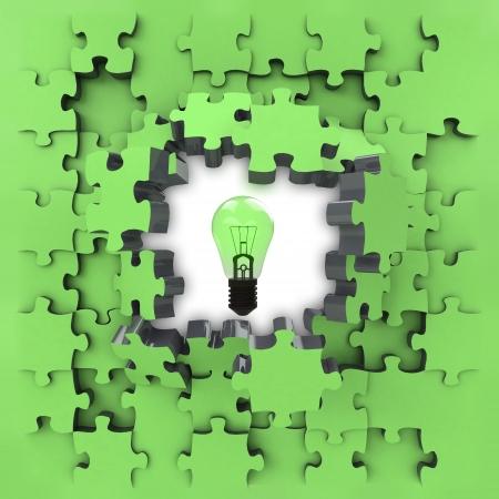green puzzle jigsaw with shiny bulb revelation illustration illustration