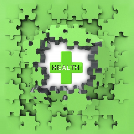 green puzzle jigsaw with health cross revelation illustration illustration