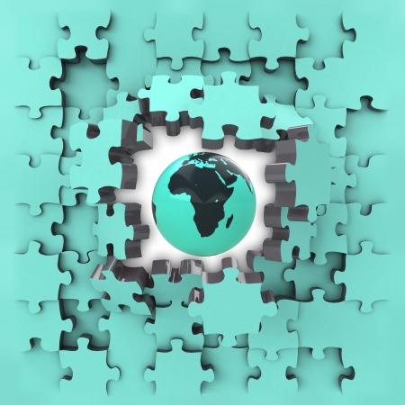 blue puzzle jigsaw with Africa globe revelation illustration illustration