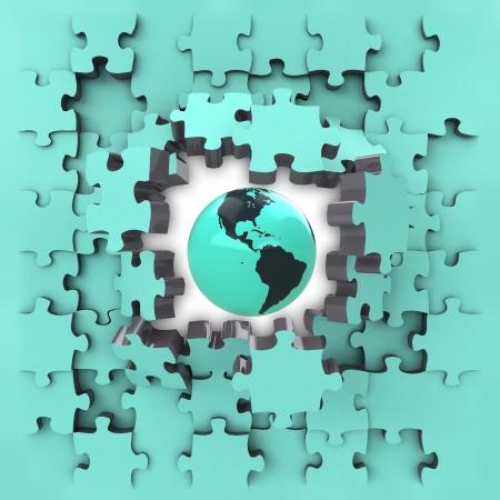 blue puzzle jigsaw with America globe revelation illustration illustration