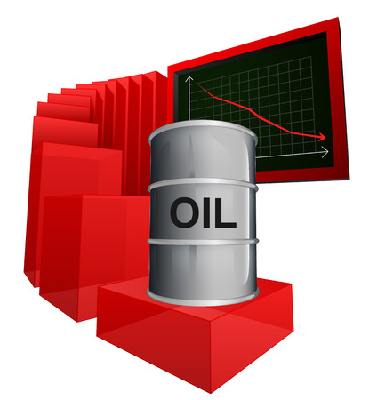 negative business graph of oil goods vector ilustration Vector