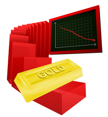 negative business graph of golden goods vector ilustration Vector