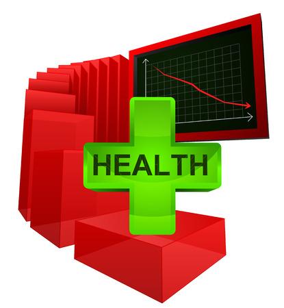 decreasing level of health care analysis vector illustration Vector