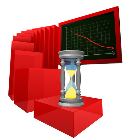 negative business results while time is running vector illustration Vector